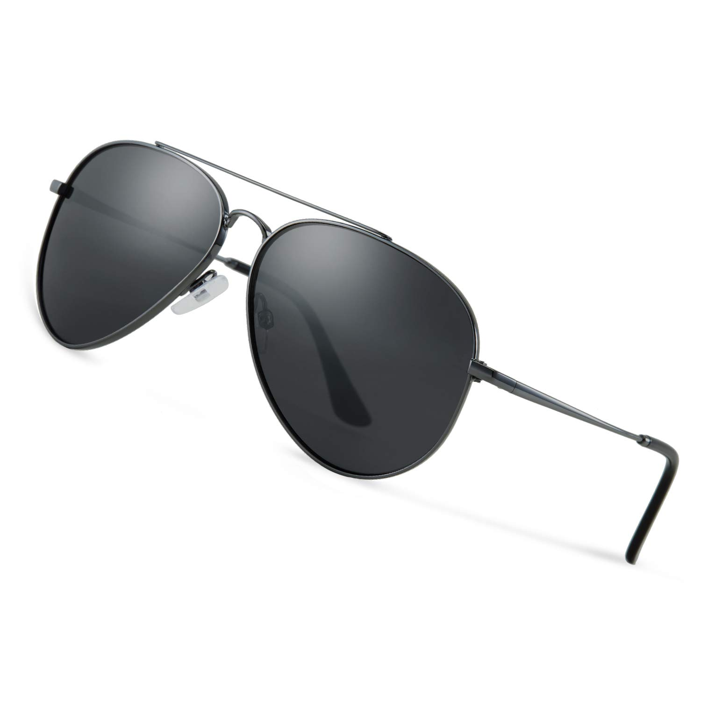 Avoalre Gafas de Sol Aviador Gafas Polarizadas Hombre Gris de Moda de Estilo Espejo Grande Redondo UV400 Marco Inoxidable Lente TAC PL Super Cómodas