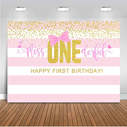Mocsicka Miss Onederful Backdrop Girl's First Birthday Party Background 7x5ft Vinyl Pink 1st Birthday Party Backdrops ()
