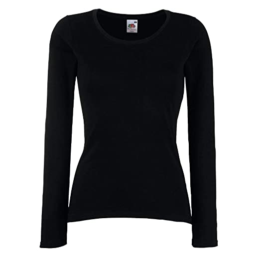 Fruit of the Loom - Lady-Fit Valueweight Longsleeve - Modell 2013 XS,Black 1b4b51eb2d