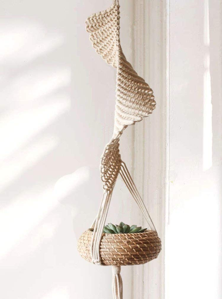 "Flber Macrame Hanging Planter Home Décor Cotton Rope Handwoven,37"" L"