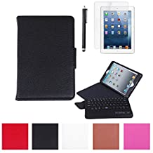 HDE iPad Case Mini PU Leather Folding Folio Cover Stand + Bluetooth Keyboard + Stylus for Apple iPad Mini 2 / 3 / Retina(Black)