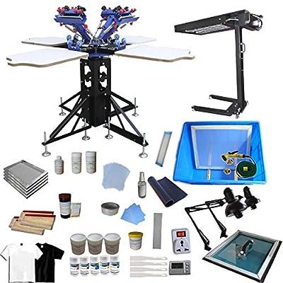 Silk Screen Printing Machine 4 Color 4 Station Screen Printing Press Screen Printing Machine Printer DIY T-Shirt