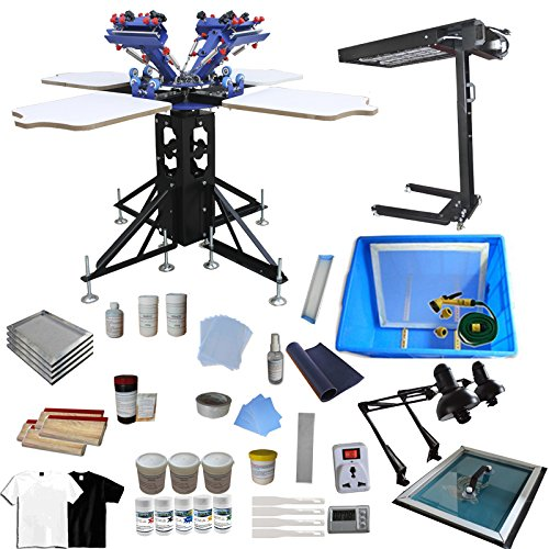 Silk Screen Printing Machine 4 Color 4 Station Screen Printing Press Screen Printing Machine Printer DIY T-Shirt by Screen Printing Kit