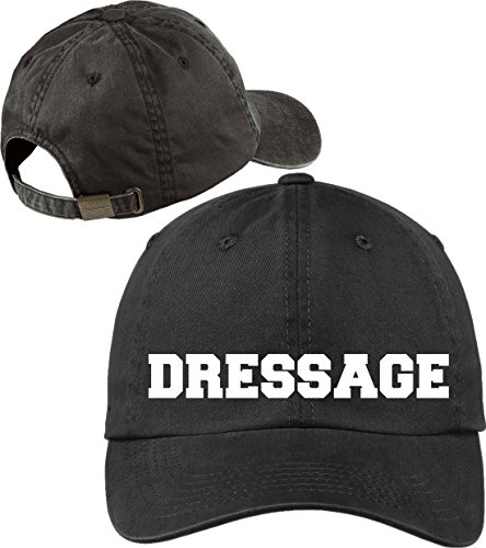 Horse Lovers Dressage Black Baseball Cap Novelty Hat with Soft Feel Lettering (Charlie Adjustable Hat Womens)