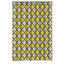 "Funny novelty Yellow Gray Black Moroccan Trellis Latticework Polyester Waterproof Shower Curtain,48"" x 72"""