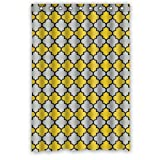 Funny novelty Yellow Gray Black Moroccan Trellis Latticework Polyester Fabric Waterproof Shower Curtain,48