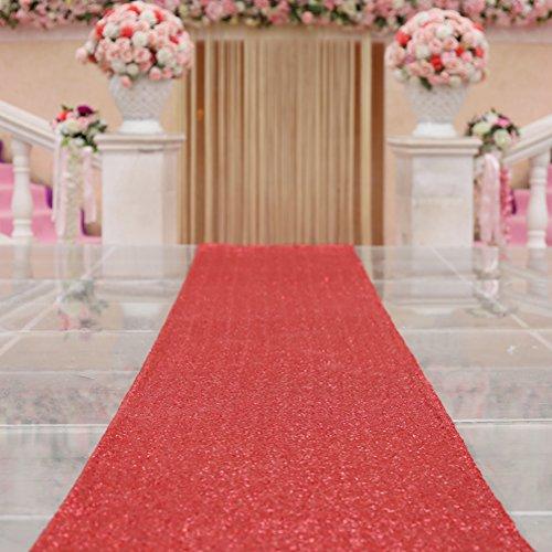 TRLYC 4FTX30FT Red Shimmer Wedding Aisles Floor Runner Sequin Wedding Carpert Runner Sequin Aisles Floor Runner for Wedding by TRLYC
