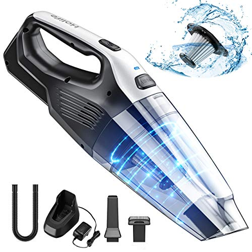 Holife Rechargeable Handheld Vacuum Cordless with Stainless Steel Filter (500 Times Washed), Powerful Cyclonic Suction Lightweight Hand Held Vac for Car