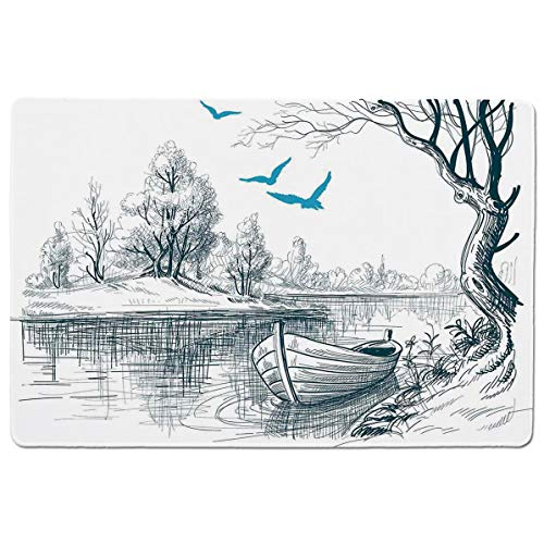 SCOCICI Mouse pad - Gaming Mouse pad - Boat on Calm River Trees Birds Twigs Sketch Drawing Clipart Water Minimalistic Professional Control Gaming Mouse Pad Locking Edge Game Mat 23.6x15.7 inch ()