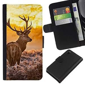 JackGot ( Majestic Sol ciervos ) Sony Xperia Z3 D6603 la tarjeta de Crédito Slots PU Funda de cuero Monedero caso cubierta de piel