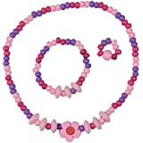 SmitCo LLC Jewelry For Kids, Toddlers and Little Girls, Pink Stretch Necklace, Ring and Bracelet Set