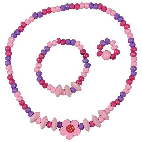 SMITCO Little Girl Jewelry – for Kids and Toddlers to Play Dress Up – Stretch Pink Necklace, Ring and Bracelet Set