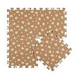 Interlocking Foam Mats EVA Foam Floor Mats (Denticle & 9 Tiles) Brown Flowers