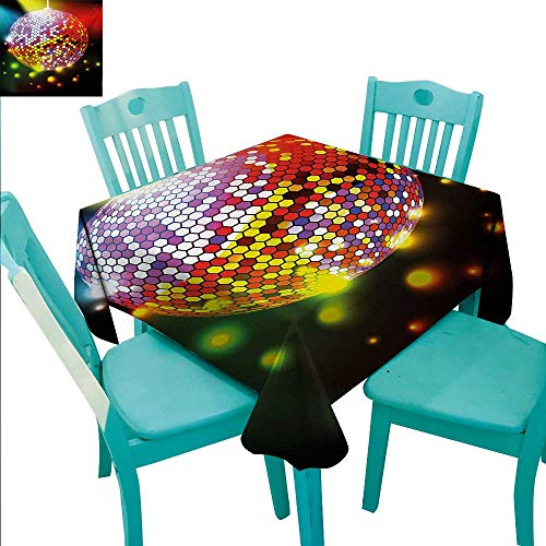 Popstar Party Washable Table Cloth Vibrant Colorful Disco Ball Nightclub Celebration Party Dance and Music Print Washable Polyester - Great for Buffet Table, Parties, Holiday Dinner, Wedding & More 6]()
