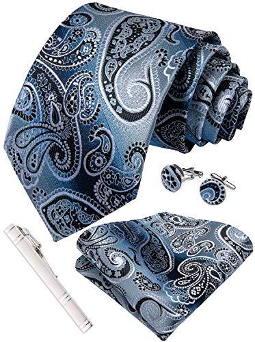 DiBanGu Silver and Blue Paisley Tie and Pocket Square Men's Woven Necktie Silk Handkerchief and Cufflink Set