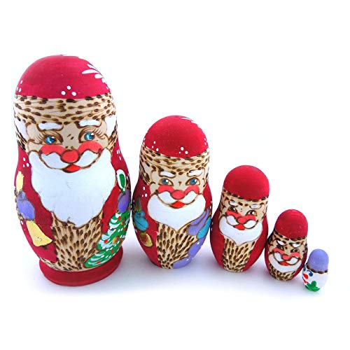 Christmas Santa Claus Design Russian Nesting Dolls, 4 Inch