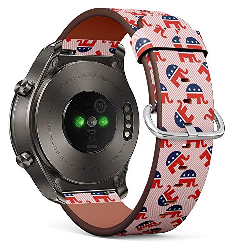S-Type Quick Release Leather Bracelet Watch Band Strap Replacement Wristband Compatible for Huawei Watch 2 Classic - Republican Elephants Pattern on red Stripes