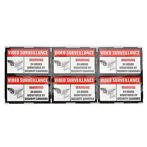 "MFLABEL - 6 Pack of 3.54"" x 2.24"" Home Business Security DVR Camera Video Surveillance System Stickers Window Door Warning Alert Decals Self Adhesive Vinyl"