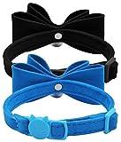BINGPET 2Pcs Breakaway Bowtie Cat Collar with Bell