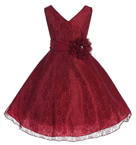 IGirlDress Little Girls Lace Special Occasion Dress Sizes 6 Burgundy