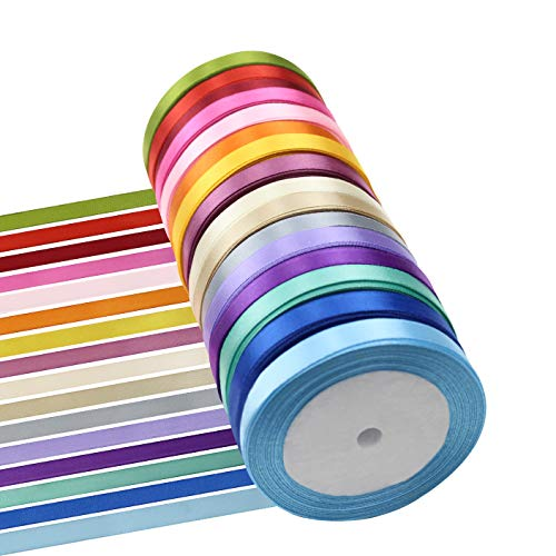 Meetory 16 Pack 400 Yard Stain Ribbon, Colourful Fabric Ribbon Roll, Silk Ribbon for Craft Wedding Gift Party Bows 10 mm (3/8
