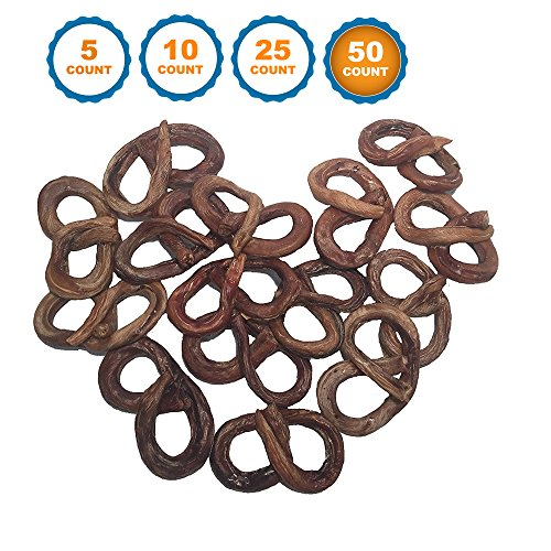 123 Treats Bully Stick Pretzel for Dogs | 4 to 5 inch – Premium Beef Chews from Free Range Grass Fed Cattle (50) For Sale