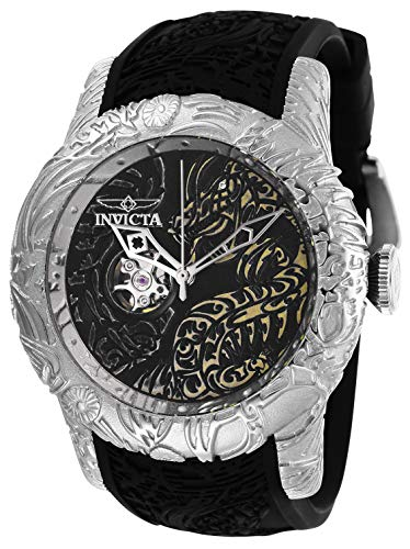 Invicta Men's S1 Rally Stainless Steel Automatic-self-Wind Watch with Silicone Strap, Black, 26 (Model: 26429)