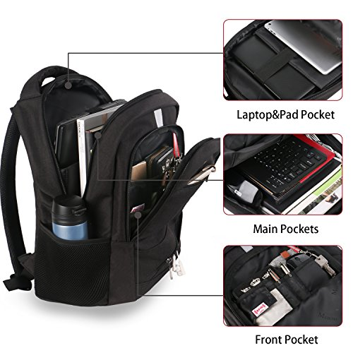 High School Backpack, Laptop Backpack RFID College Bag for Women Men, Anti theft Travel Business Laptop Bag w/USB Charging Port, Mancro Slim Water Resistant Polyester Daypack Fit 15.6'' Notebook, Black by Mancro (Image #1)