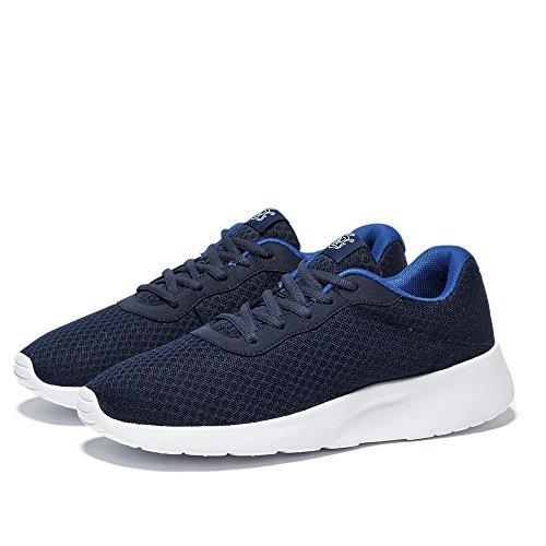 NeedBo Herren Damen Leichte Athletische Laufschuhe, Atmungsaktives Mesh Jogging Walking Sneakers Dunkelblau