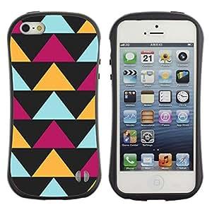 Paccase / Suave TPU GEL Caso Carcasa de Protección Funda para - Black Purple Yellow Pattern - Apple Iphone 5 / 5S