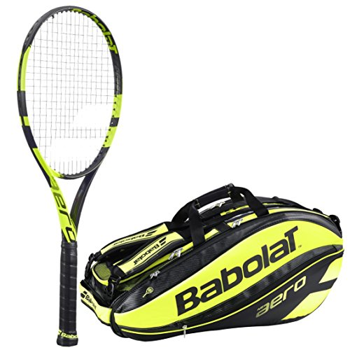 Babolat Pure Aero Adult Tennis Racquet (4.25) bundled with Pure Aero Racquet Holder x12 (Yellow/Black) (Babolat Racquet Holder)