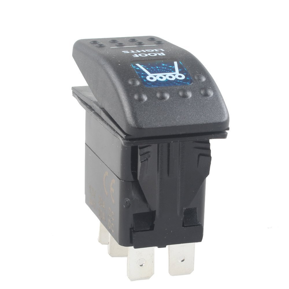 Mintice/™ veh/ículo de 12V 20A LED azul interruptor de palanca basculante luz 5 Pines Tray Light