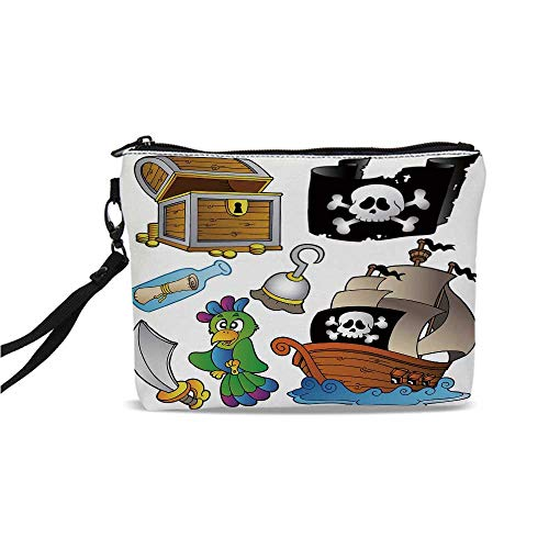 - Pirate Simple Cosmetic Bag,Pirate Themed Collection Treasure Chest Jolly Roger Flag Ship Cutlass Parrot Cartoon for Women,9