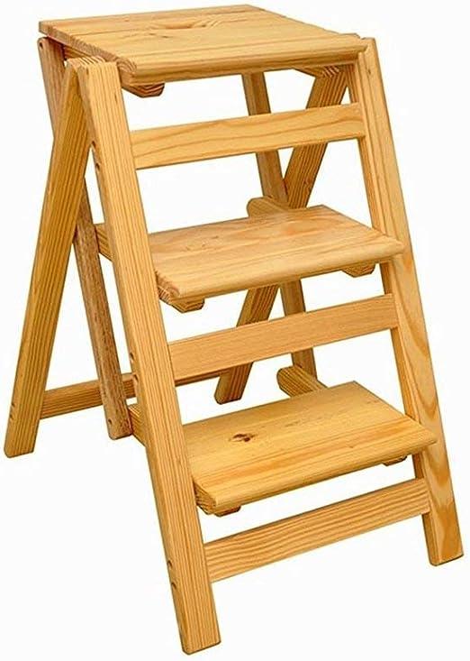 MultifuncióN Estante Almacenamiento Baldas Pasos plegables Silla de escalera de madera maciza de 3 escalones Silla de escalera de madera multifuncional Escalera de estantería plegable (Color: color ma: Amazon.es: Hogar