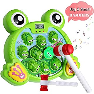 Yuham Whack a Frog Pounding Game, Developmental Toddlers Toys for 3 4 5 6 7,2 Year Old Boys & Girls Gift, Helps Fine Motor Skills
