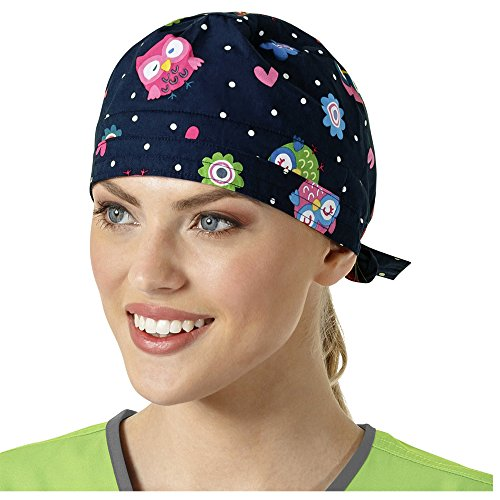 Zoe And Chloe Women's Adjustable Owl Print Scrub Hat Owl Right Navy Animal Rights Womens Cap