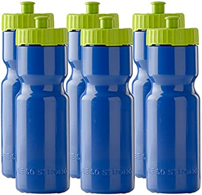 Set of 6 BPA Fre Team Pack – 22 oz 50 Strong Sports Squeeze Water Bottles