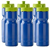 50 Strong Sports Squeeze Water Bottles – Set of 6 – Team Pack – 22 oz. BPA Free Bottle Easy Open Push/Pull Cap – Made in USA – Multiple Colors Available