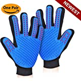 Versacrop Pet Grooming Glove - Pet Hair Remover Mitt - Deshedding Bathing Massage Gloves for Cats & Dogs with Long & Short Fur - One Pair