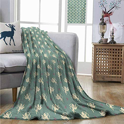 Plush Throw Blanket Green Greek Mythology Inspired Romance Cupid Pattern with Little Hearts Print Blankets W60 xL80 Jade Green Cream Purple