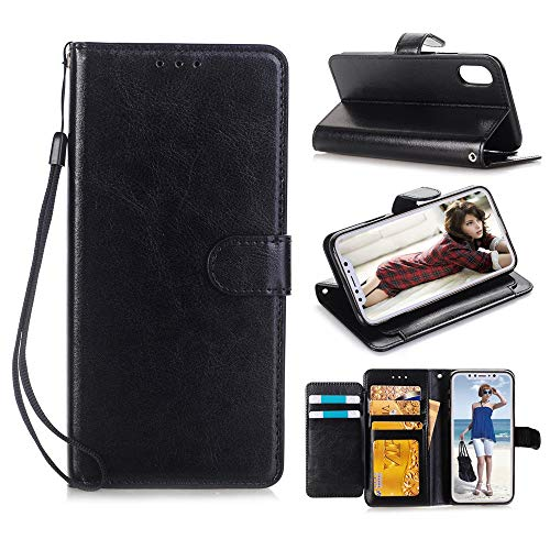 For iPhone XR Wallet Cse 6.1 inch, Leather Flip Caed Slot Stand with Strap (for iPhone XR 6.1