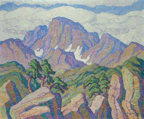 Polyster Canvas ,the High Definition Art Decorative Prints On Canvas Of Oil Painting 'Sven Birger Sandzen,The Great Peak(Longs Peak),1938', 24x29 Inch / 61x74 Cm Is Best For Kitchen Decor And Home Artwork And Gifts
