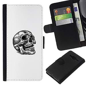 KLONGSHOP // Tirón de la caja Cartera de cuero con ranuras para tarjetas - Tatuaje del cráneo - Samsung Galaxy Core Prime //