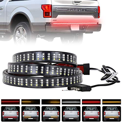 - Tailgate Light Bar, AAIWA Truck Bed Light Strip with Red Trun Singal, Brake, Reverse, Flash Light, Amber/Red/White Tail light Strip for Pickup Trailer SUV RV VAN Jeep Car
