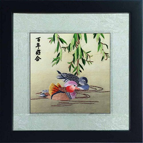 Silk Art 100% Handmade Embroidery Framed Mandarin ducks playing in the water Painting Gift Oriental Asian Wall Art D¨¦cor Artwork SilkArt017