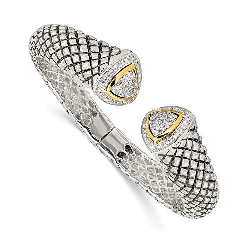 Roy Rose Jewelry Shey Couture Collection Sterling Silver with 14K Yellow Gold 1/2-Carat Diamond Hinged Cuff Bracelet 7.5'' Length Collection Diamond Cuff Bracelet