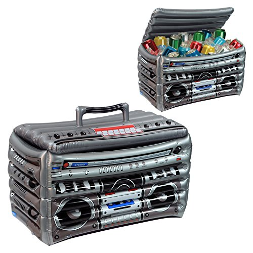 Beistle Club Pack Totally 80's Party Theme Boom Box Inflatable Cooler, Box of 6 Coolers.