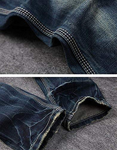 Uomo blau Strappati 928 Alla All'aperto Lavati Casual Vintage Da Abbigliamento Moda Pantaloni Jeans Dritti T1axIqTw