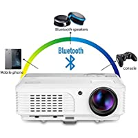 Portable LED Projector Wireless Bluetooth - Home Theater Cinema Movie Video Games (2017 Upgraded) Multimedia WXGA LCD Support 1080P Airplay Miracast Outdoor Party including HDMI, USB, VGA, TV Port