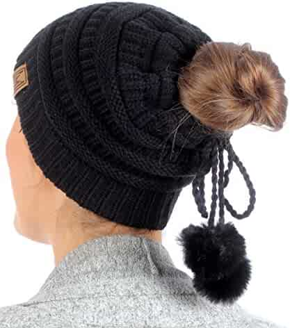 e708cedecd4fc MIRMARU Women s Ponytail Messy Bun Beanie Ribbed Knit Hat Cap with  Adjustable Pom Pom String